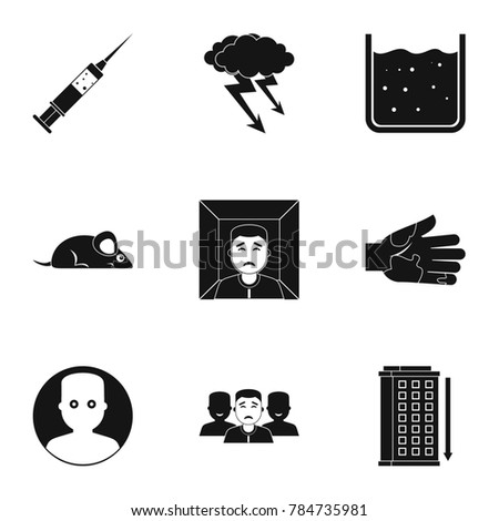 Fears and phobias icon set. Simple style set of 9 fears and phobias  icons for web isolated on white background