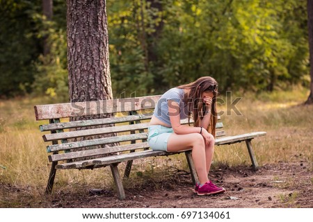 fears,teenager problems. Frustrated depression girl.Concept of unemployed sadness depressed and human problems.Taking decisions for the future.unwanted pregnancy, negative thoughts and emotions