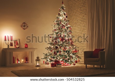 Feast of Christmas. Beautifully decorated house with a Christmas tree ipodarkami underneath #504532825