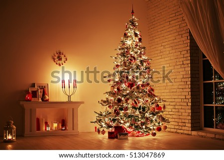 Feast of the Nativity. Beautifully decorated house with a tree and presents at Christmas #513047869