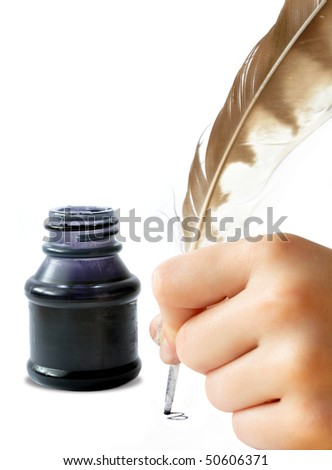 Feather and ink bottle - stock photo