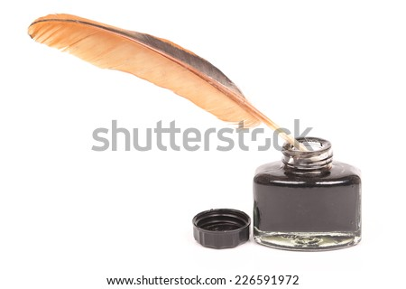 Feather pen abstract colors in the ink pot. Isolated on a white