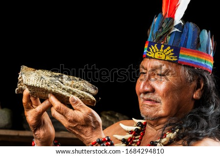 feather snake ayahuasca shaman in ecuadorian amazon during a genuine ayahuasca formal picture as seen in april 2015 feather snake ayahuasca shaman voodoo tribe amazon emotion indigens medicine indian