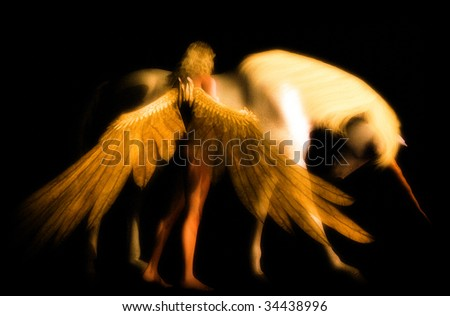 Feather wing Guardian Angel give comfort to the Last Unicorn.  Illustration is lightly textured on black background