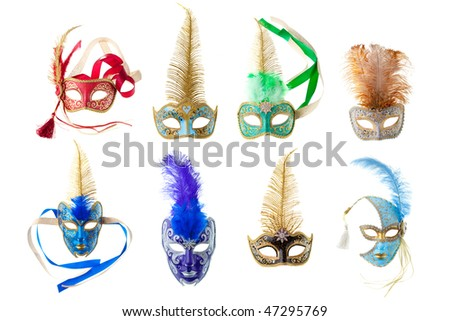 feathered carnival masks isolated on a white background