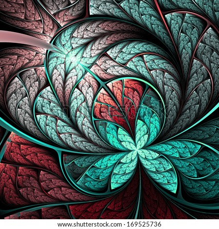 Stock Photo Feathery fractal butterfly or flower, digital artwork for creative graphic design