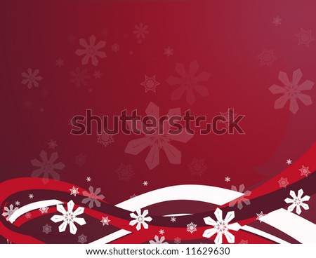 Features abstract swirls and snowflakes in a red background.