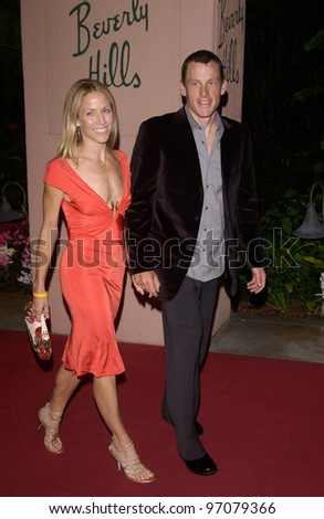Feb 12, 2005; Beverly Hills, CA: Singer SHERYL CROW & LANCE ARMSTRONG at record mogul Clive Davis' Annual pre-Grammy party at the Beverly Hills Hotel.