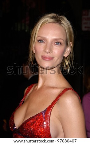 Feb 14, 2005; Los Angeles, CA: Actress UMA THURMAN at the world premiere of her new movie Be Cool, at the Grauman's Chinese Theatre, Hollywood.