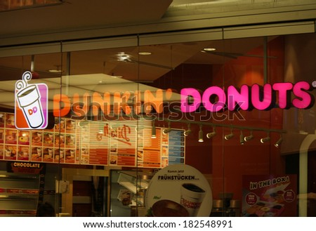 "FEBRUARY 15, 2014 - BERLIN: the logo of the brand ""Dunkin Donuts"", Berlin."