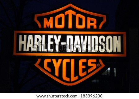 FEBRUARY 15 2014 BERLIN the logo of the brand Harley Davidson Berlin