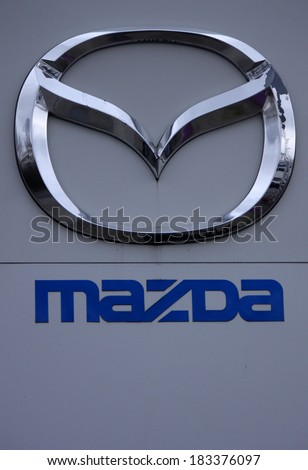 FEBRUARY 15 2014 BERLIN the logo of the brand Mazda Berlin