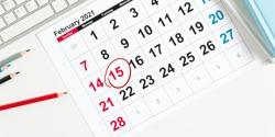 February 15 Calendar day, number circled on calendar