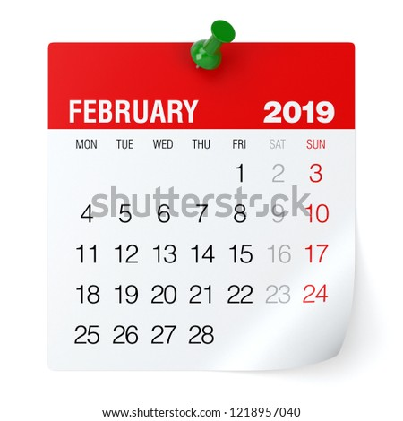 February 2019 - Calendar. Isolated on White Background. 3D Illustration