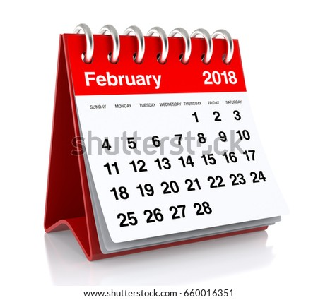 February 2018 Calendar. Isolated on White Background. 3D Illustration