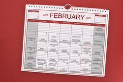 February 2020 Calendar on red background