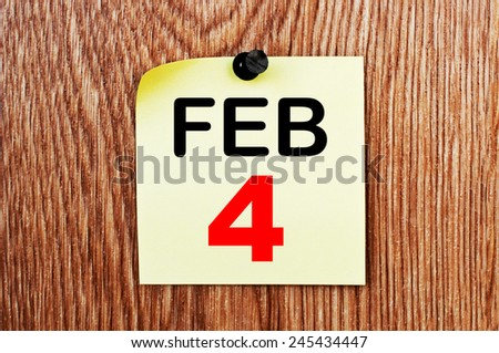 February 4 Calendar. Part of a set