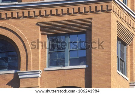 FEBRUARY 2005 - Close up of 6th Floor window in Texas School Book Depository Building, site of JFK assassination, Dallas, TX