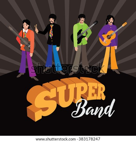 FEBRUARY 28 2016: Color Illustration of The Beatles in their psychedelic stage. Illustrative editorial. George Harrison, Ringo Starr, John Lennon and Paul McCartney.