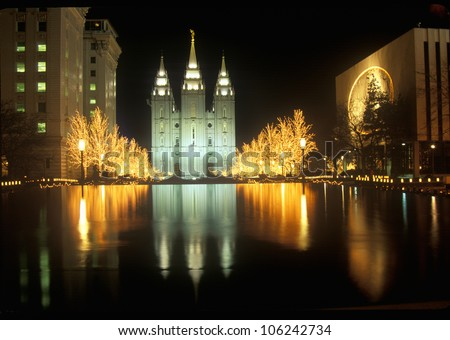 FEBRUARY 2005 - Historic Temple and Square in Salt Lake City at night, during 2002 Winter Olympics, UT