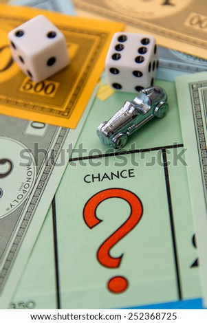 February 8, 2015 - Houston, TX, USA.  Monopoly game board with car on Chance
