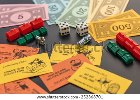February 8, 2015 - Houston, TX, USA.  Monopoly money, playing pieces and cards