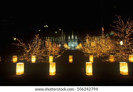 FEBRUARY 2005 - Night display of 'world peace' sculptures during the 2002 Winter Olympics in the Mormon Square, Salt Lake City, UT