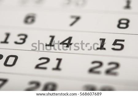 February 14 on the calendar #568607689