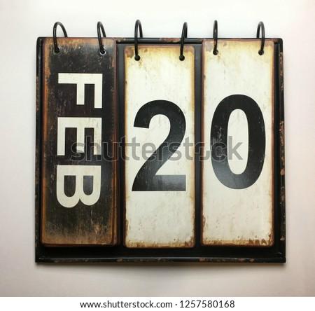 February 20 on vintage calendar  #1257580168