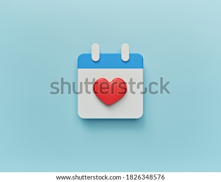 February 14 Valentines day Calendar icon isolated. minimal concept. 3d rendering