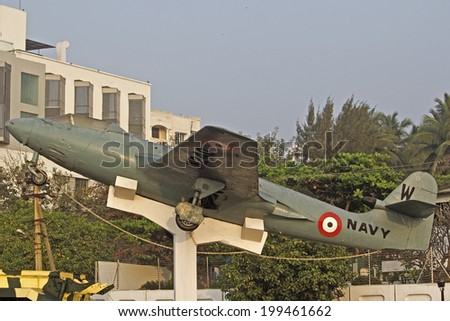 FEBRUARY 13, VISHAKHAPATNAM, ANDHRA PRADESH, INDIA - Airplain of the Indian Navy, part of the memorial of the Victory at Sea. War at Sea was the part of conflict between India and Pakistan in 1971