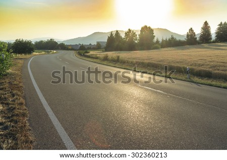 Federal highway in Germany at dawn.