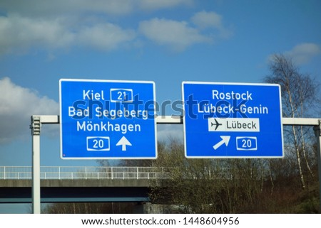 Federal Motorway Sign Lübeck, Kiel, Bad Segeberg, Mönkhagen, Genin, Rostock, 20 #1448604956