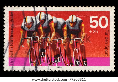 FEDERAL REPUBLIC OF GERMANY - CIRCA 1978: A stamp printed in the Federal Republic of Germany shows image of bicycle racing, series, circa 1978