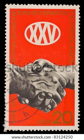 FEDERAL REPUBLIC OF GERMANY - CIRCA 1971: A stamp printed in the Federal Republic of Germany shows 1946-1971 Sozialistische Einheitspartei Deutschlands, circa 1971