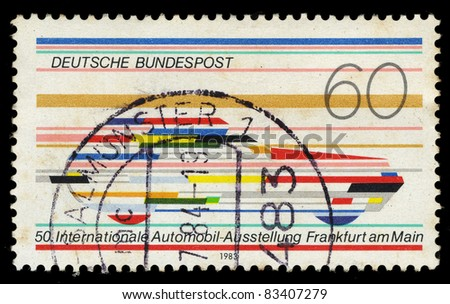 FEDERAL REPUBLIC OF GERMANY - CIRCA 1983: A stamp printed in the Federal Republic of Germany shows 50 Internationale Automobil-Ausstellung Frankfurt am Main, circa 1983