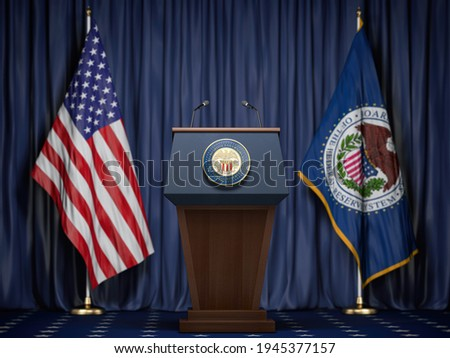 Federal Reserve System Fed of USA chairman press conference concept. Tribune with symbol and flag of FRS and United States. 3d illustration Сток-фото ©