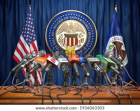 Federal Reserve System Fed of USA press conference concept. Microphones TV and radio channels with symbol and flag of US Federal Reserve. 3d illustration Сток-фото ©