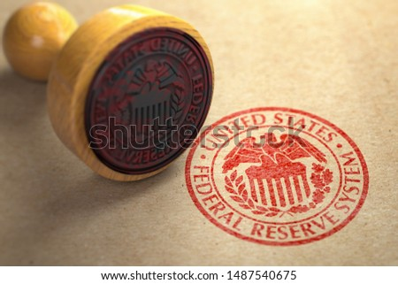 Federal reserve system FED symbol stamp on craft paper. 3d illustration