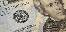 federal reserve system sign on twenty dollars banknote closeup
