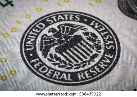 Federal reserve system symbol. Macro shot