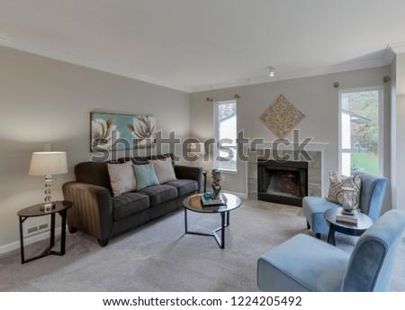 Federal Way, WA / USA - Nov. 3, 2018: Modern living room interior #1224205492
