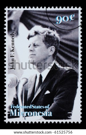 FEDERATED STATES MICRONESIA - CIRCA 1990: A postage stamp printed in FSM showing John F. Kennedy, circa 1990