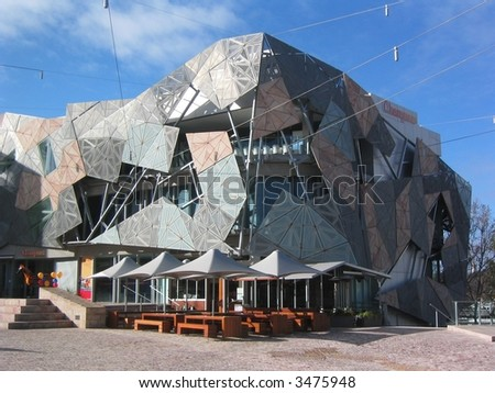Federation square in the centre of Melbourne