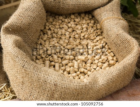 Feed in sacks fodder for  the animals