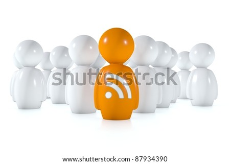 feed readers follow an orange 3d human with rss logo on a white background