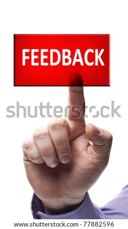 Feedback button pressed by male hand
