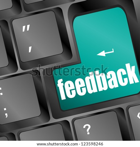 Feedback computer key showing opinion and surveys, raster