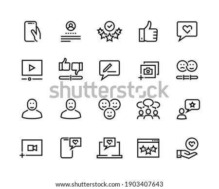Feedback line icons. Customer review and questionnaire list outline pictograms.  user experience and opinion test set. Communication services testing consumer emotions