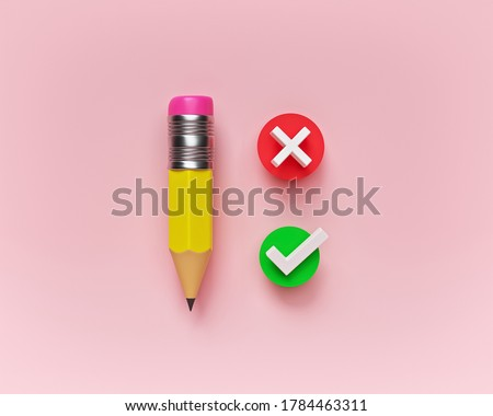 feedback, survey concept. pencil with tick and cross icon. minimal design. 3d rendering